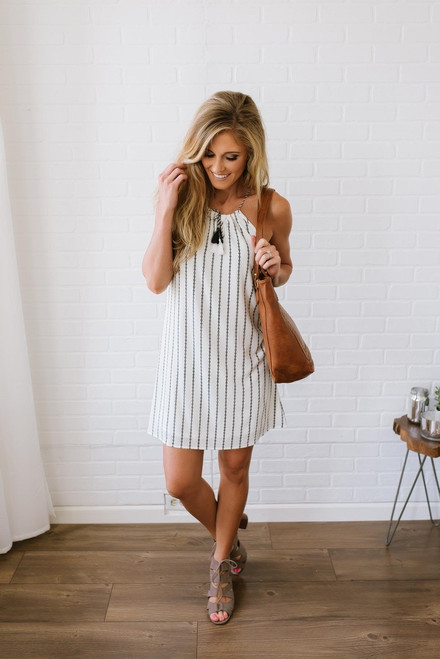 Southern at Heart Printed Halter Dress - Off White/Navy