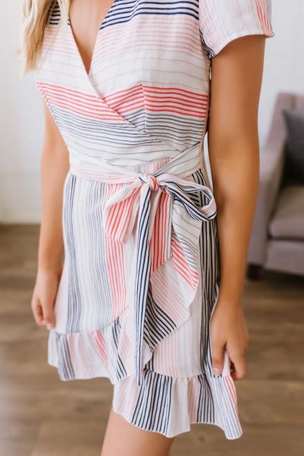 Beach Boardwalk Striped Dress - White Multi  - FINAL SALE