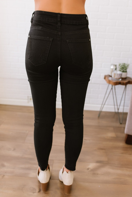 Night Train Distressed Skinny Jeans - Black