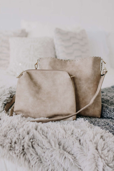 Monroe Distressed Scalloped Crossbody Bag - Taupe