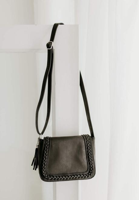 Alexandria Braided Crossbody Bag - Black