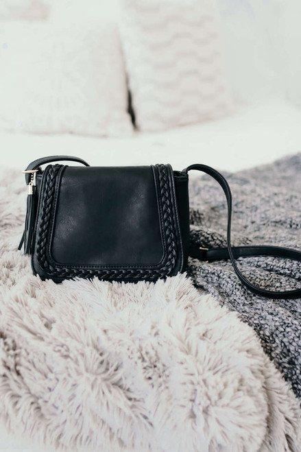 Alexandria Braided Crossbody Bag - Black - FINAL SALE