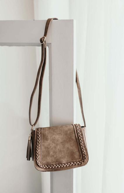 Alexandria Braided Crossbody Bag - Taupe