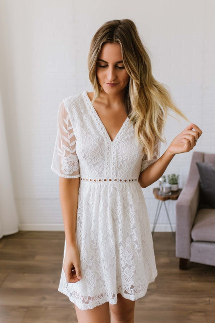 With My Whole Heart Lace Dress - White