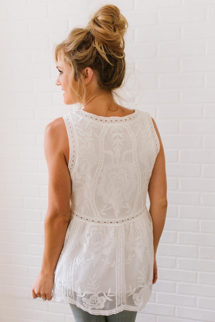 Heart's Desire Scalloped Lace Tank - Off White