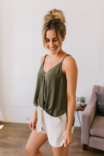 Rivera Maya Surplice Twisted Tank - Olive
