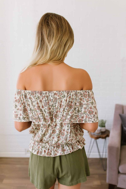 Off the Shoulder Floral Peasant Top - Natural Multi  - FINAL SALE