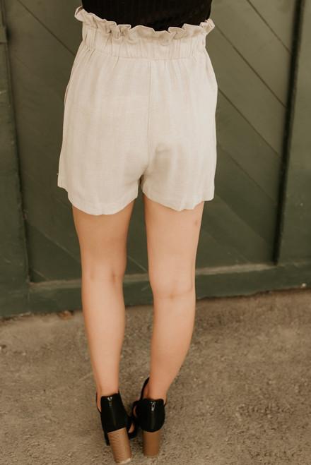 Cape Town High Waisted Shorts - Oatmeal - FINAL SALE