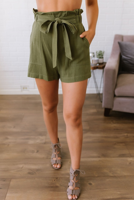 Cape Town High Waisted Shorts - Olive