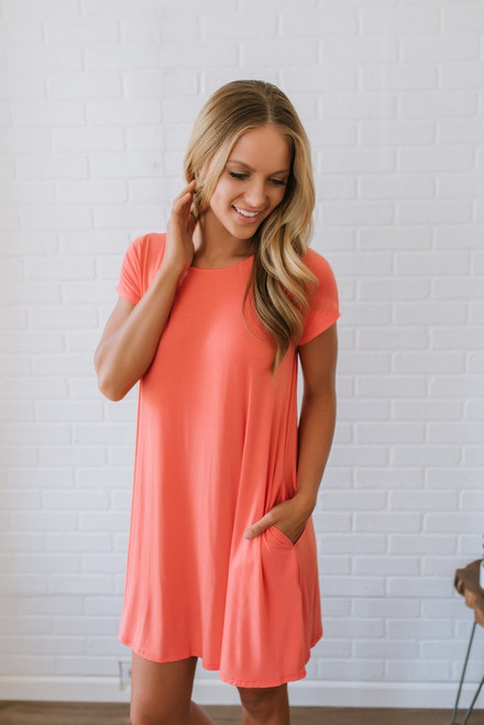 Sunny Days T-Shirt Dress - Coral - FINAL SALE
