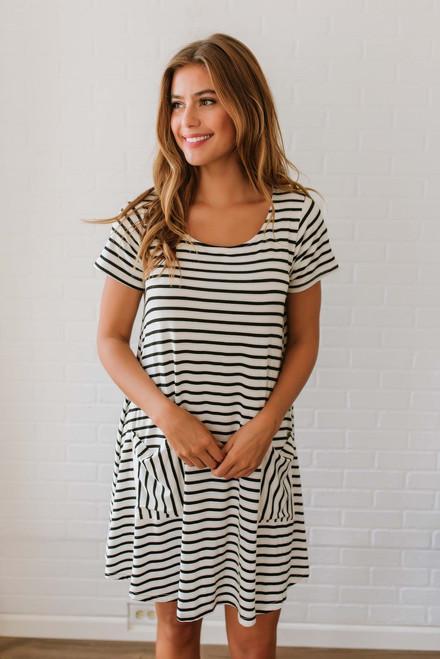 Genevieve Striped T-Shirt Dress - Black/White - FINAL SALE