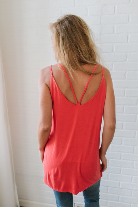 Evie Mineral Wash Scalloped Tank - Hot Coral - FINAL SALE