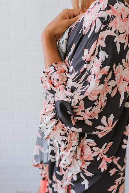 Hidden Springs Floral Kimono - Charcoal Multi - FINAL SALE