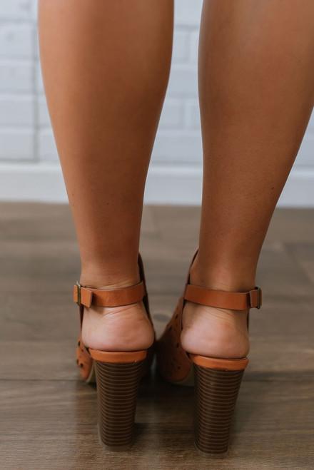 World Traveler Perforated Peep Toe Booties - Brown -FINAL SALE
