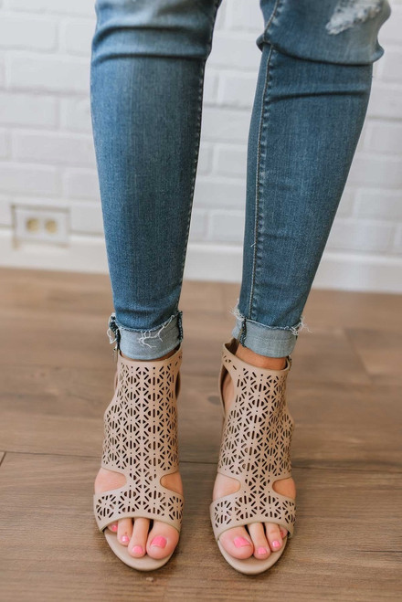 Silver Lining Perforated Peep Toe Booties - Taupe