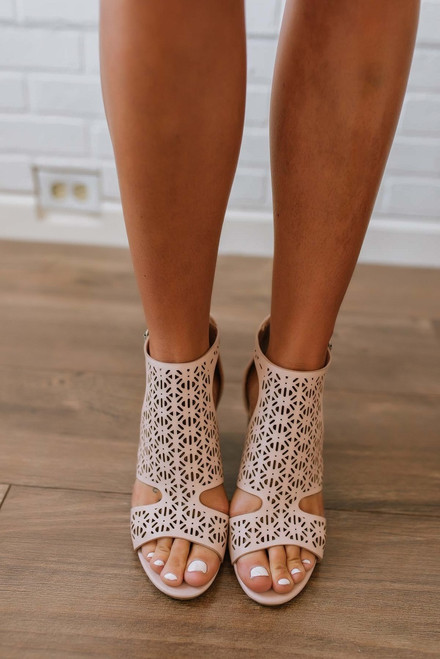Silver Lining Perforated Peep Toe Booties - Blush - FINAL SALE