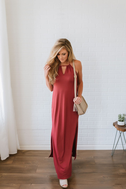 Follow Your Heart Keyhole Halter Maxi - Brick - FINAL SALE