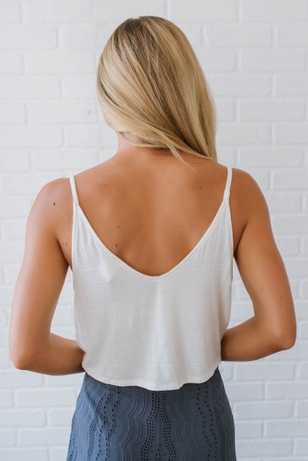 Button Down Cropped Tie Tank - Off White - FINAL SALE