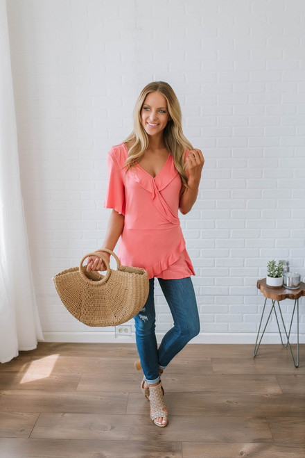 Short Sleeve Ruffle Wrap Top - Coral