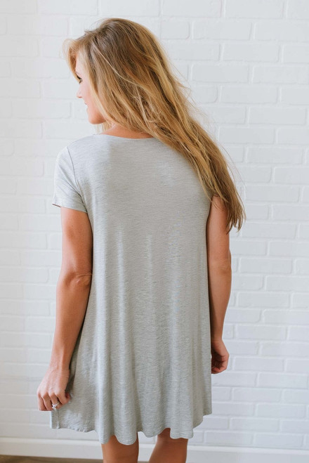 Sunny Days T-Shirt Dress - Heather Grey - FINAL SALE