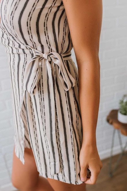 Seaside Castle Striped Romper - Ivory/Charcoal