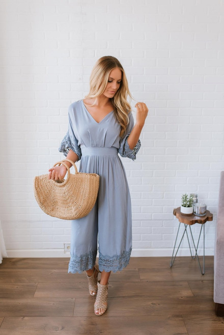 Colette Scalloped Crochet Jumpsuit - Slate Grey