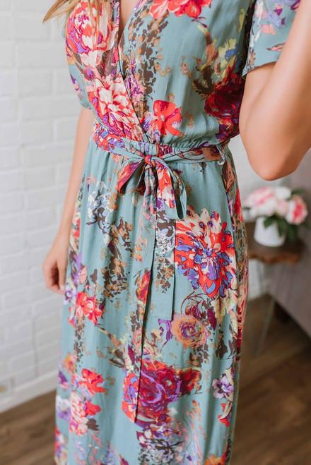 Floral Watercolor Faux Wrap Maxi - Dusty Jade Multi