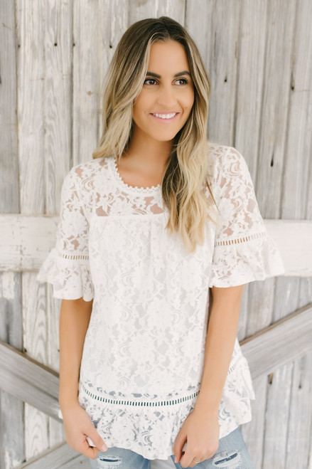 Better Together Peplum Sleeve Lace Top - White - FINAL SALE