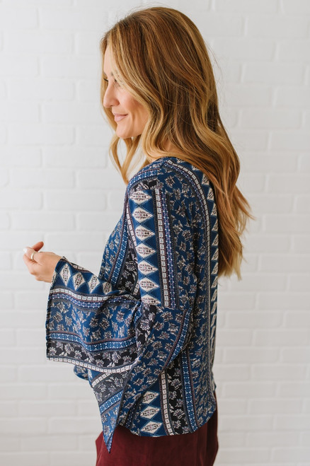 Happy Thoughts V-Neck Printed Top - Navy Multi  - FINAL SALE