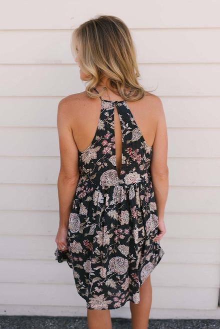 Ferndell Floral Halter Dress - Charcoal Multi