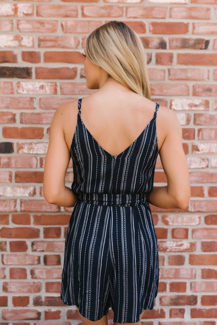Southern Darling Striped Romper - Navy/White