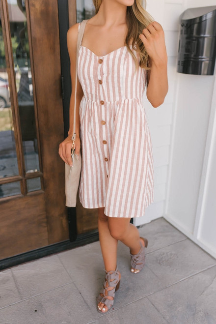 East Coast Striped Button Down Dress - Rust/White