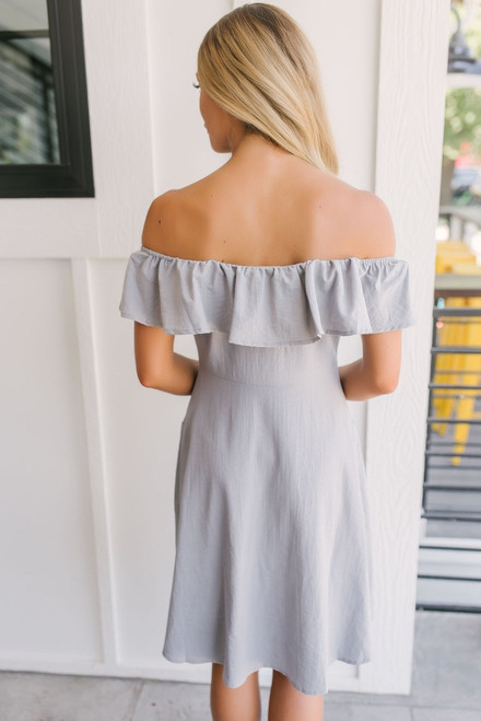 Off the Shoulder Button Down Dress - Grey