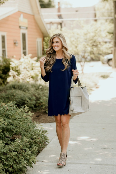Key to My Heart Scalloped Dress - Navy