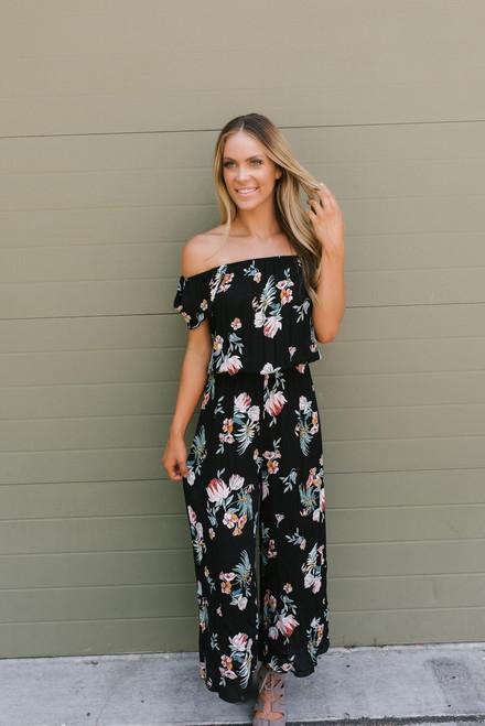 Meet Me in Paradise Floral Jumpsuit - Black Multi