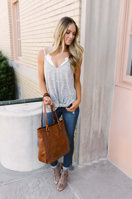 One and Only Knotted Tank - Heather Grey - FINAL SALE