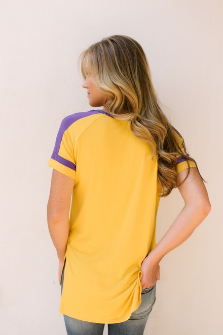 Game Day Colorblock Tee - Gold/Purple