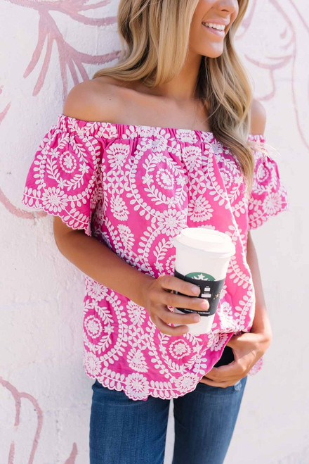 Off the Shoulder Embroidered Top - Fuchsia/White - FINAL SALE