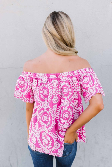 Off the Shoulder Embroidered Top - Fuchsia/White