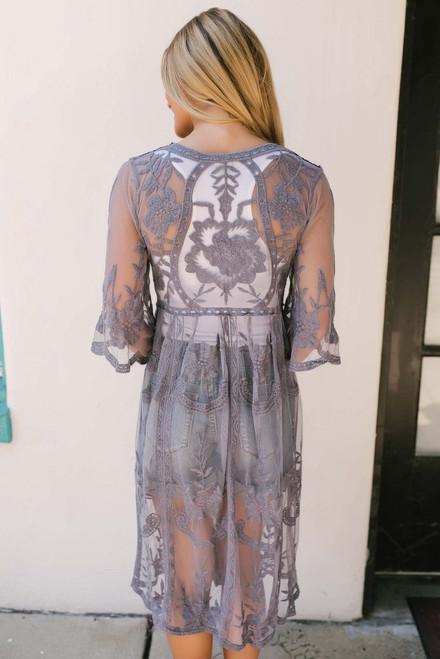 Sweet Escape Lace Kimono - Charcoal