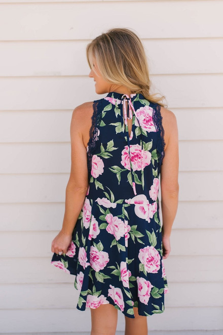 Rebecca Lace Detail Floral Dress - Navy Multi