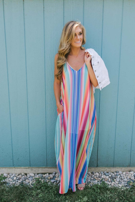Color Me Wonderful Striped Maxi - Multi