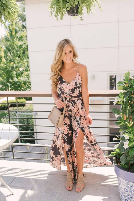 Fall for You Floral Slit Jumpsuit - Charcoal Multi