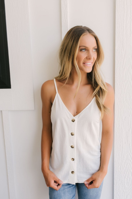 Coastal Living Button Down Tank - Ivory