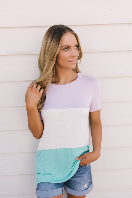 Float On Colorblock Tee - Lavender/Ivory/Mint