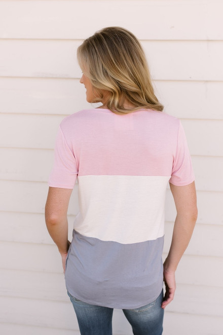 Float On Colorblock Tee - Blush/Ivory/Grey