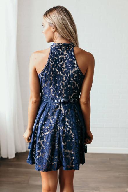 Greatest Love Story Halter Lace Dress - Navy