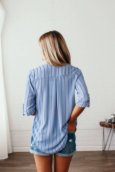 Lighthouse on the Coast Striped Top - Light Blue/Black