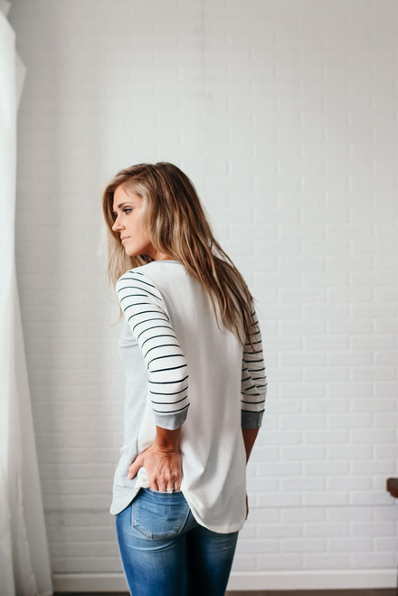 Harleigh Contrast Lightweight Pullover - Grey/White/Black