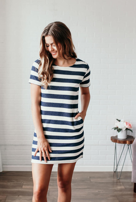 Seaside Adventure Striped Dress - Navy/Ivory